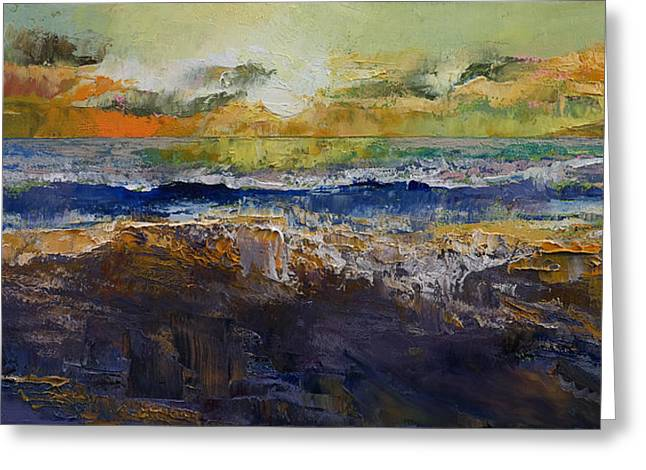 Sunset Seascape Greeting Cards - Ocean Waves Greeting Card by Michael Creese