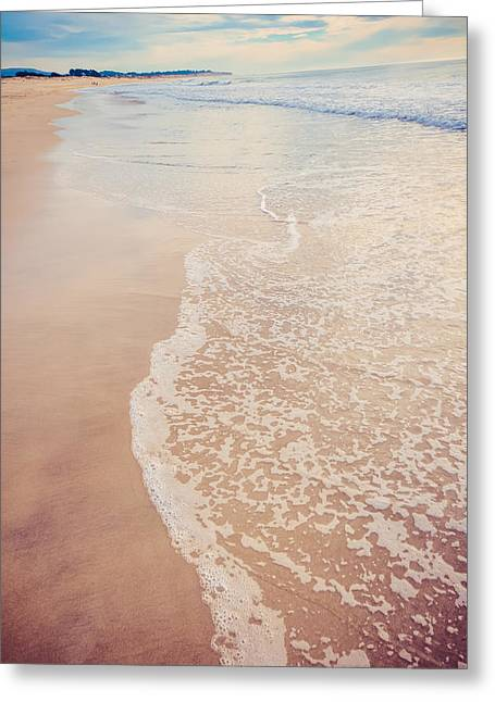 Half Moon Bay Greeting Cards - Ocean Waves Washing up on Shore in Blue and Brown Greeting Card by Lynn Langmade