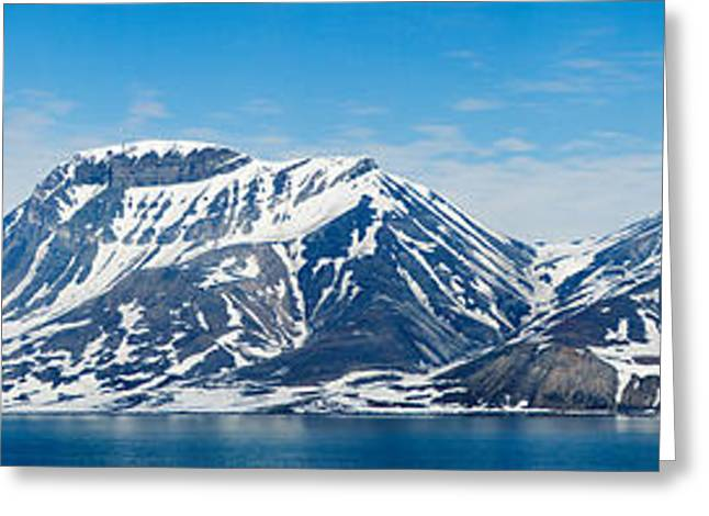 Ocean Images Greeting Cards - Ocean With A Mountain Range Greeting Card by Panoramic Images