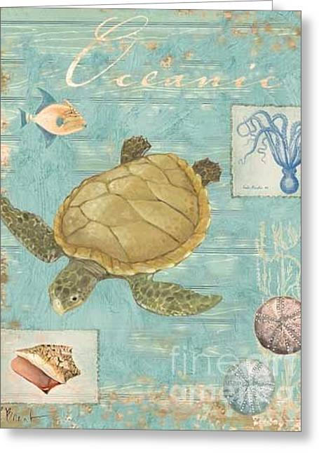 Tropical Island Greeting Cards - Oceanic Collage Turtle Greeting Card by Paul Brent
