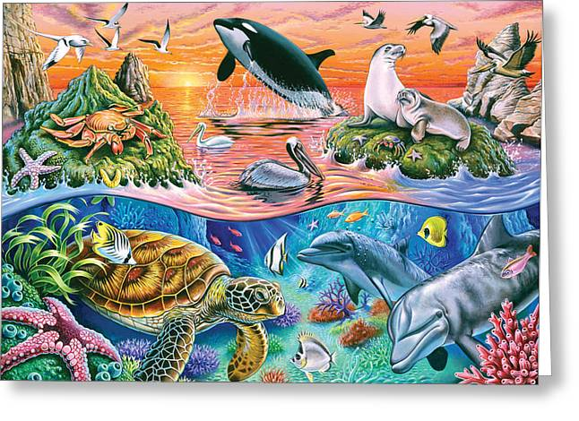 Dinosaurs Greeting Cards - Oceanic Gathering Greeting Card by Mark Gregory