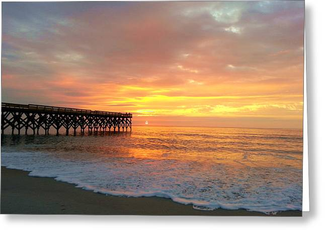 Saltlife Greeting Cards - Oceanic Pier Sunrise Greeting Card by Karen Rhodes