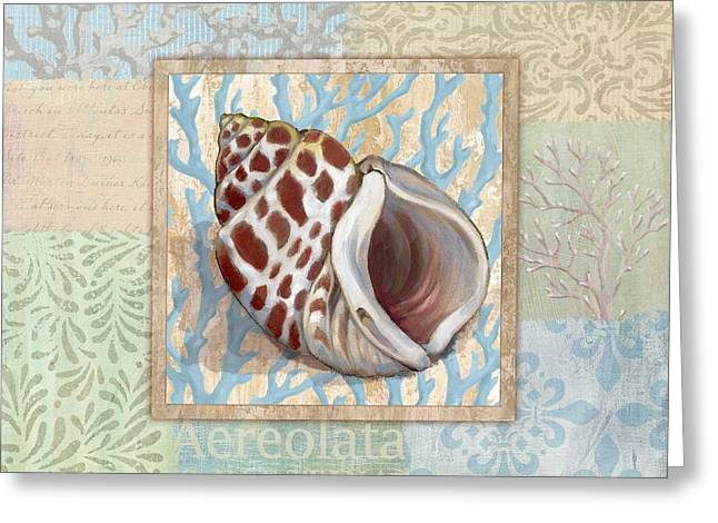 Calm Paintings Greeting Cards - Oceanic Shell Collage I Greeting Card by Paul Brent