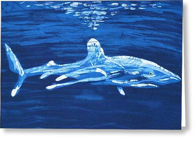 White Shark Tapestries - Textiles Greeting Cards - Oceanic White Tip  Greeting Card by Kay Shaffer