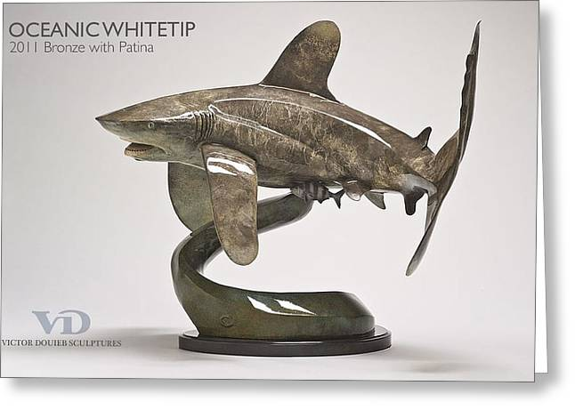 Sharks Sculptures Greeting Cards - Oceanic Whitetip Greeting Card by Victor Douieb