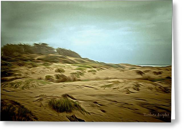 Sand Dunes Paintings Greeting Cards - Oceano Dunes Greeting Card by Barbara Snyder