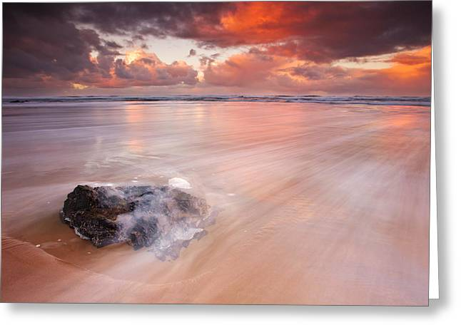 Waves Splash Greeting Cards - Oceans Light Greeting Card by Darren  White