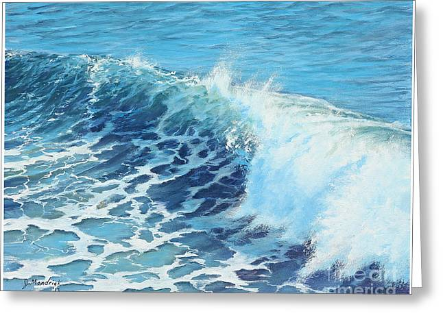 Steamer Lane Greeting Cards - Oceans Might Greeting Card by Joe Mandrick