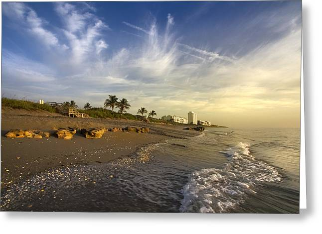 Foggy Beach Greeting Cards - Oceans Soft Light Greeting Card by Debra and Dave Vanderlaan