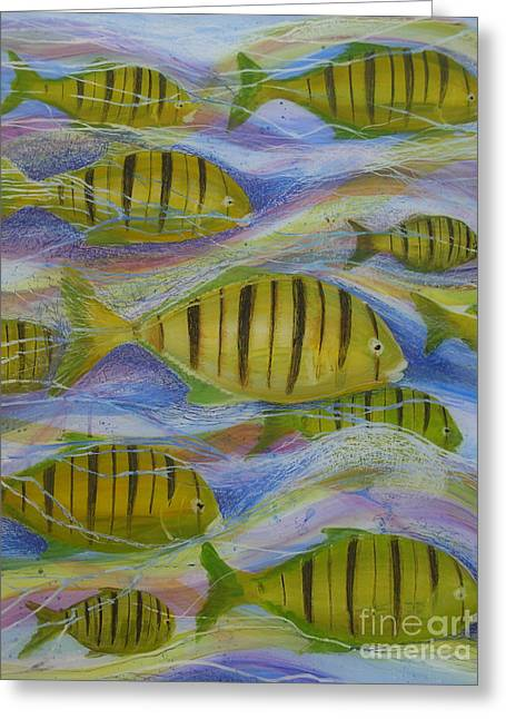 Under The Ocean Glass Art Greeting Cards - Oceans Tide Greeting Card by Anna Skaradzinska