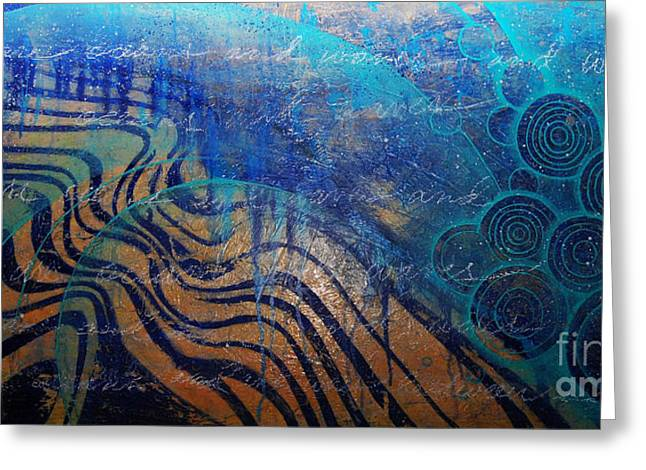 And Sand-mix Greeting Cards - Oceans Waves and Wires One Greeting Card by Ashley Gilbert