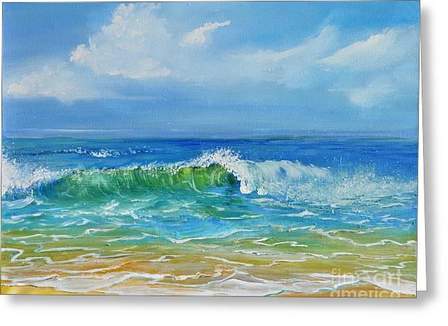 Blue Green Wave Greeting Cards - Oceanscape Greeting Card by Teresa Wegrzyn