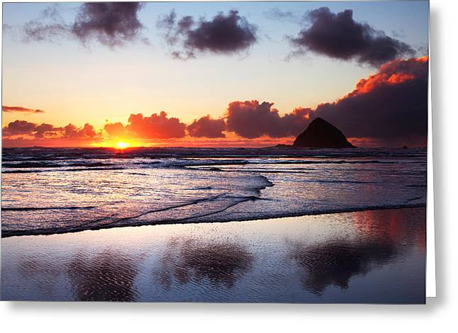Sea Stack Reflections Greeting Cards - Oceanside Blaze Greeting Card by Darren  White
