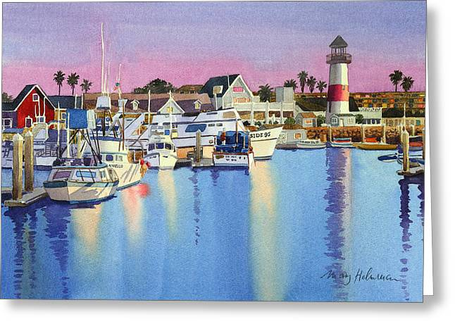 Docked Sailboats Paintings Greeting Cards - Oceanside Harbor at Dusk Greeting Card by Mary Helmreich