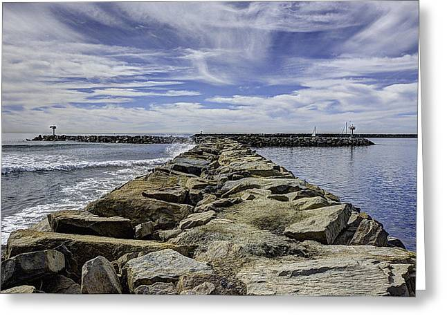Ann Patterson Greeting Cards - Oceanside Jetty Greeting Card by Ann Patterson