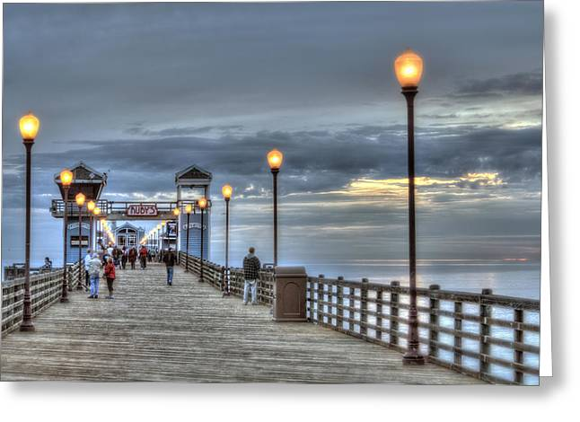 Oceanside Pier At Sunset Greeting Card by Ann Patterson