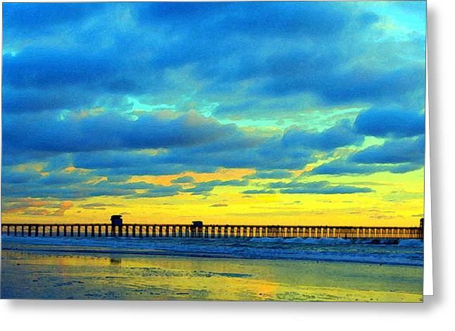 Pier Pyrography Greeting Cards - Oceanside Pier at Sunset Greeting Card by Brian Brasher