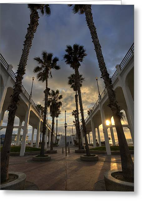 Oceanside Pier Entrance Greeting Card by Peter Tellone