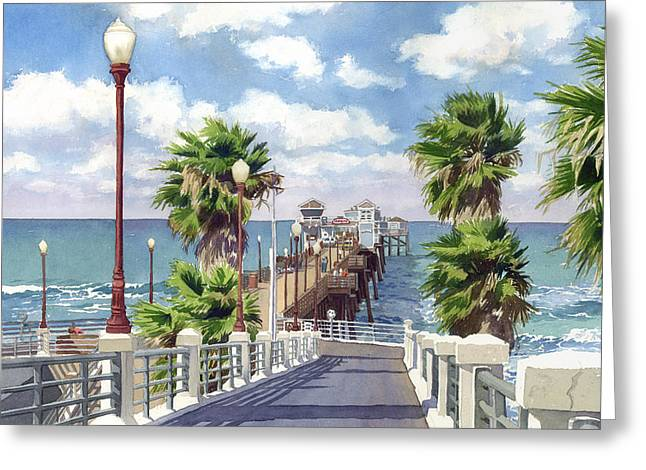 Palm Greeting Cards - Oceanside Pier Greeting Card by Mary Helmreich