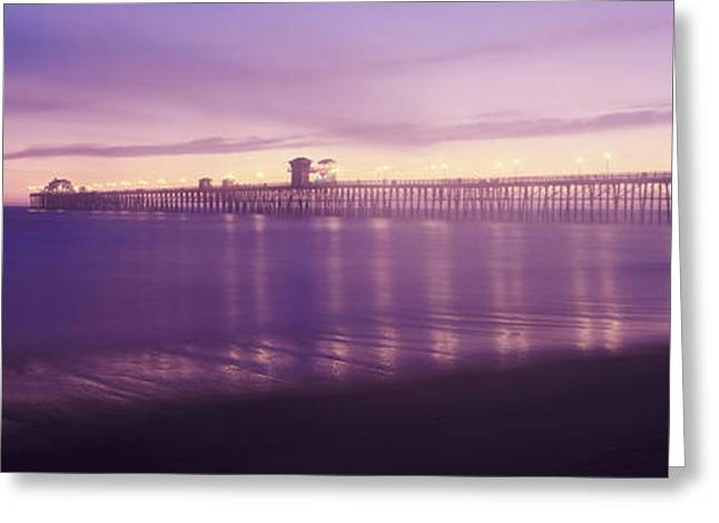 California Ocean Photography Greeting Cards - Oceanside Pier Over The Pacific Ocean Greeting Card by Panoramic Images