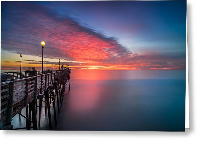 Stunning Greeting Cards - Oceanside Pier Sunset 16 Greeting Card by Larry Marshall