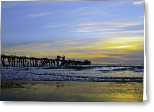 Beach Photograph Greeting Cards - Oceanside Pier Sunset Greeting Card by Art K