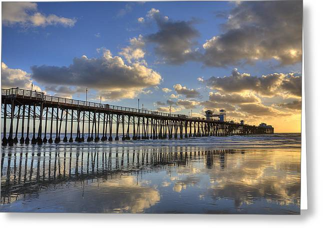 California Beach Greeting Cards - Oceanside Pier Sunset Reflection Greeting Card by Peter Tellone