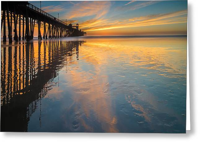 Ocean. Reflection Greeting Cards - Oceanside Reflections 2 Square Greeting Card by Larry Marshall