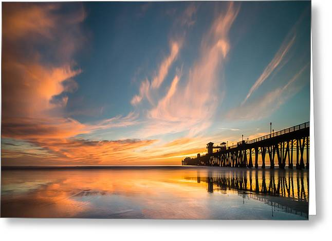 Ocean. Reflection Greeting Cards - Oceanside Reflections 3 Square Greeting Card by Larry Marshall