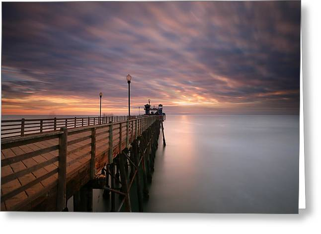 California Ocean Photography Greeting Cards - Oceanside Sunset 13 Greeting Card by Larry Marshall