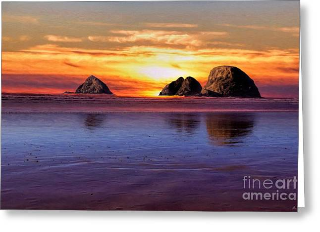 Wildlife Refuge. Greeting Cards - Oceanside Sunset Greeting Card by Jon Burch Photography
