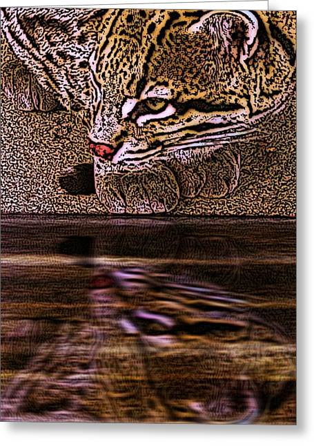 Preditor Greeting Cards - Ocelot Reflections Greeting Card by Dale Crum