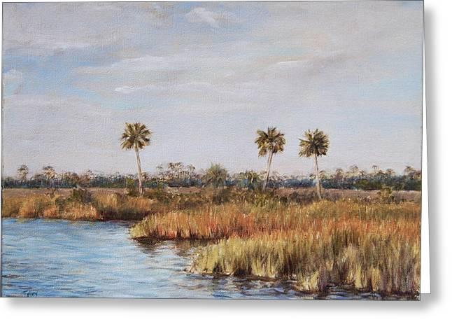 Golden Marsh Greeting Cards - Ochlockonee River Palms Greeting Card by Pam Talley