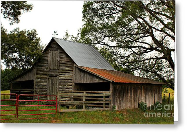Red Roofed Barn Greeting Cards - Oconee County Historic Barn Greeting Card by Reid Callaway