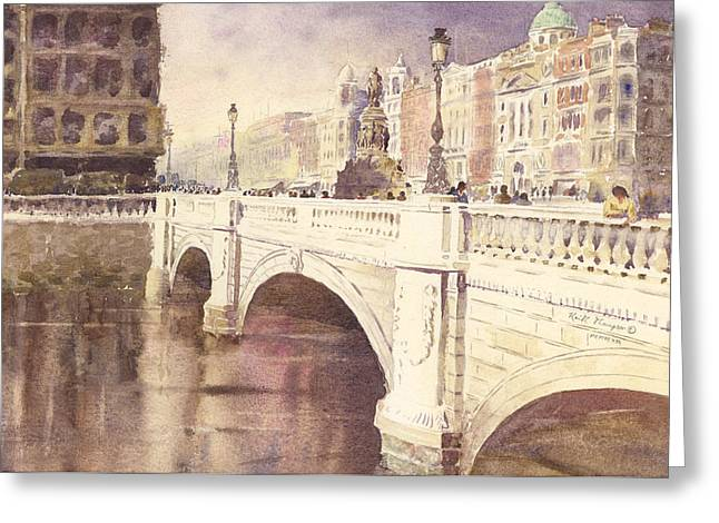 print Paintings Greeting Cards - OConnell Bridge Dublin Ireland Greeting Card by Keith W Thompson