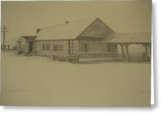 Caboose Drawings Greeting Cards - Oconto Depot Northern Exposure Greeting Card by Kathleen Barlament