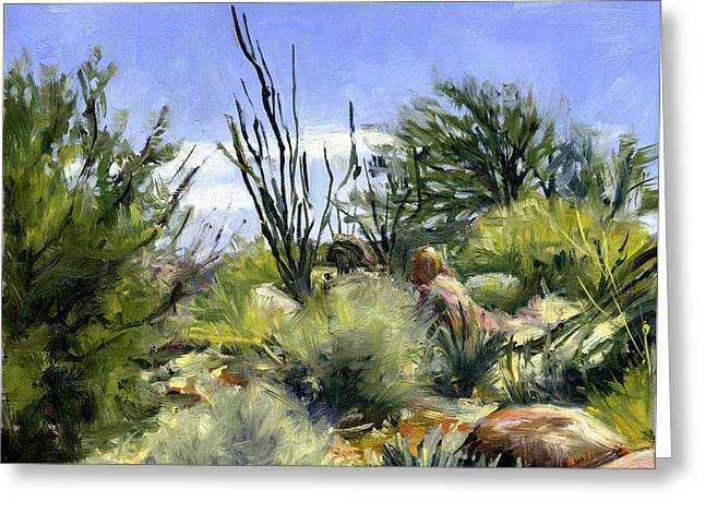 Stacy Vosberg Greeting Cards - Ocotillo and Scrub Brush Greeting Card by Stacy Vosberg