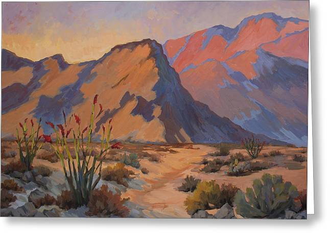 Afternoon Light Greeting Cards - Ocotillo at La Quinta Cove Greeting Card by Diane McClary