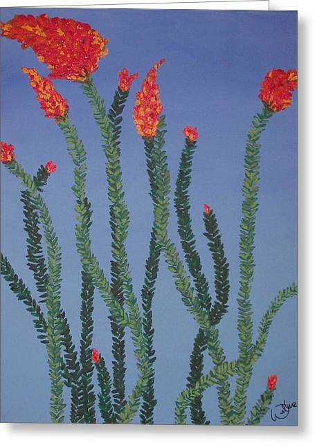 Marcia Weller-wenbert Greeting Cards - Ocotillo Blue Greeting Card by Marcia Weller-Wenbert