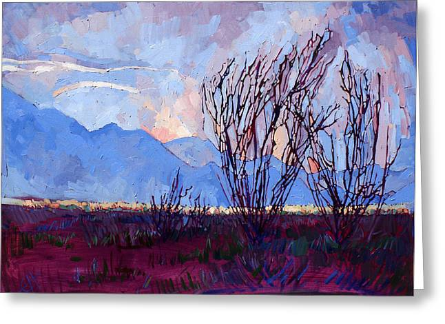Ocotillo Cactus Greeting Cards - Ocotillo on Blue - Triptych Center Panel Greeting Card by Erin Hanson