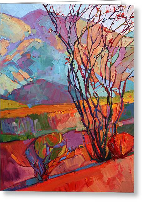 Ocotillo Cactus Greeting Cards - Ocotillo Triptych - Left Panel Greeting Card by Erin Hanson