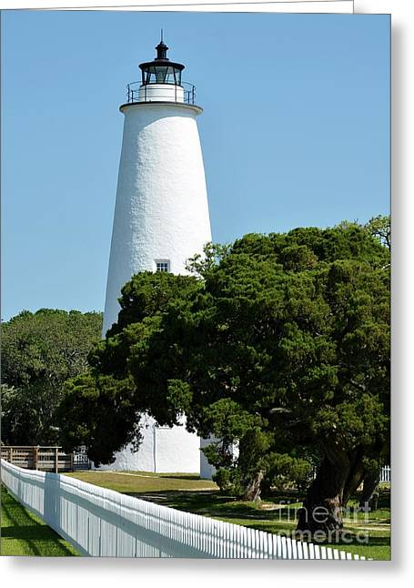 Barrier Island Greeting Cards - Ocracoke Island Light Greeting Card by Mel Steinhauer
