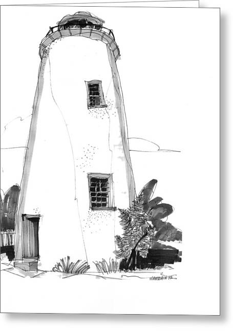 North Shore Drawings Greeting Cards - Ocracoke Light 1970s Greeting Card by Richard Wambach