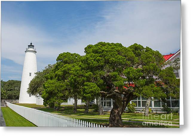 Ocracoke Lighthouse And Light Keeper's House Greeting Card by Kay Pickens