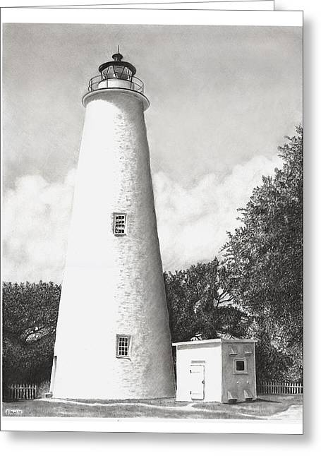 North Shore Drawings Greeting Cards - Ocracoke Lighthouse Greeting Card by Greg DiNapoli
