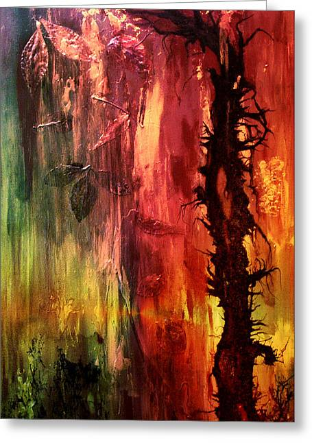 Dead Tree Trunk Greeting Cards - October Abstract Greeting Card by Patricia Motley