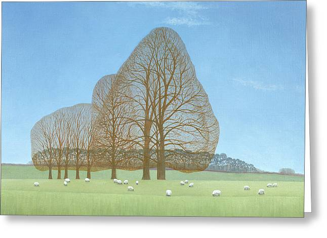 Sheep Grazing Greeting Cards - October Afternoon, 2008 Oil On Canvas Greeting Card by Ann Brain