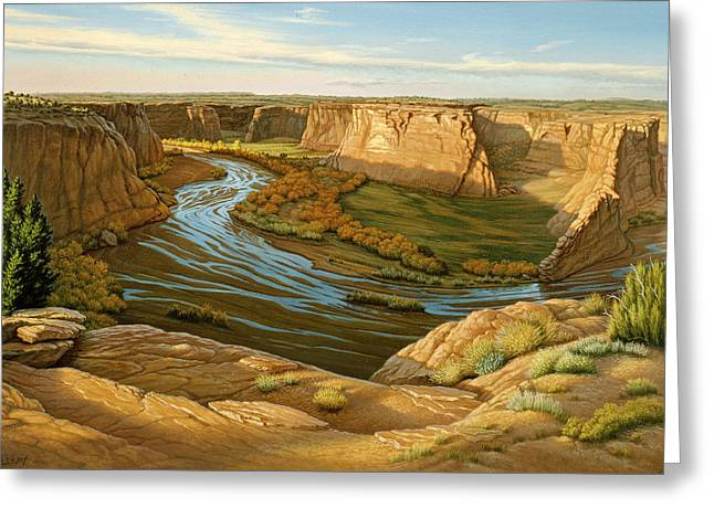Navajo Greeting Cards - October Afternoon- Canyon DeChelly Greeting Card by Paul Krapf