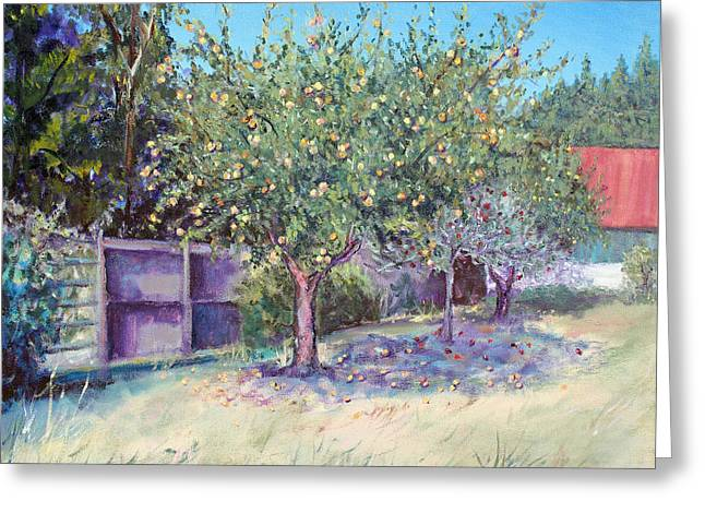 Shadows On Apples Greeting Cards - October Apples Greeting Card by Asha Carolyn Young
