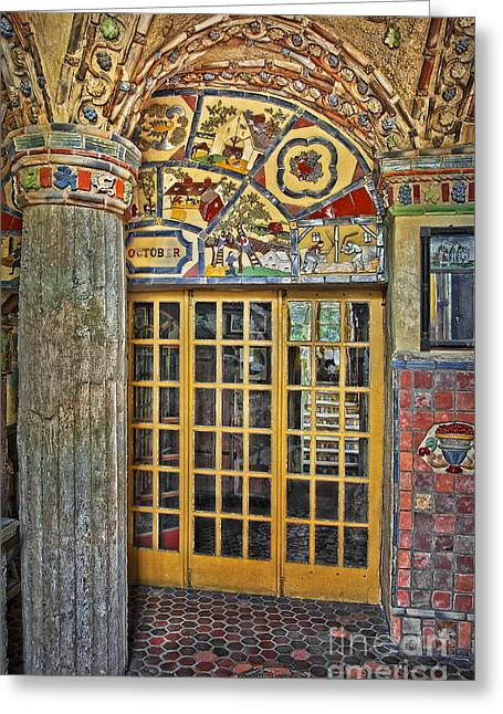 French Door Greeting Cards - October At Fonthill Castle Greeting Card by Susan Candelario